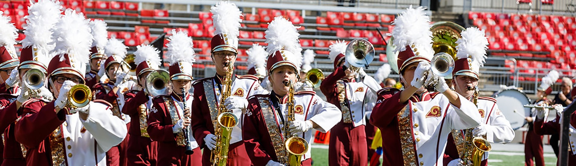 Ross High School Marching Band performing.